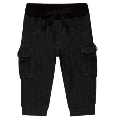 Imagem 1 do produto Calça Cargo jeans para bebe em fleece Black - Petit - 41154308 CALÇA C/ BOLSA LATERAIS FLEECE SAFARI -P