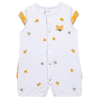 Imagem 1 do produto Macacão curto para bebe em algodão egípcio c/ jato de cerâmica Daisy - Mini & Classic - 3019657 MACACAO M/C C/BABADOS SUEDINE FLORAL AMARELO-RN