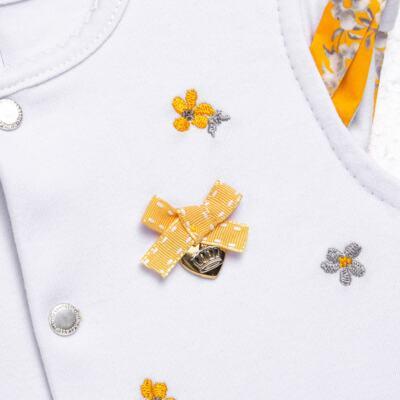 Imagem 2 do produto Macacão curto para bebe em algodão egípcio c/ jato de cerâmica Daisy - Mini & Classic - 3019657 MACACAO M/C C/BABADOS SUEDINE FLORAL AMARELO-RN