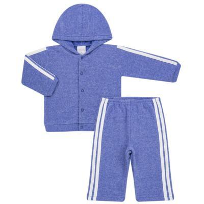 Imagem 1 do produto Casaco c/ capuz e Calça para bebe em soft Azul - Tilly Baby - TB0172020.09 CONJ. CASACO COM CALÇA SOFT AZUL-GG