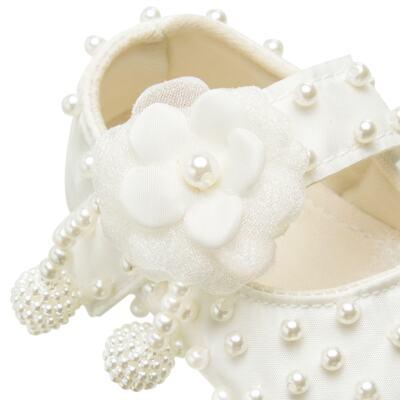Imagem 2 do produto Sapatilha para bebe em cetim Pérolas & Flor Marfim - Roana - 20040026031 SAPATILHA LUXO MARFIM-RN