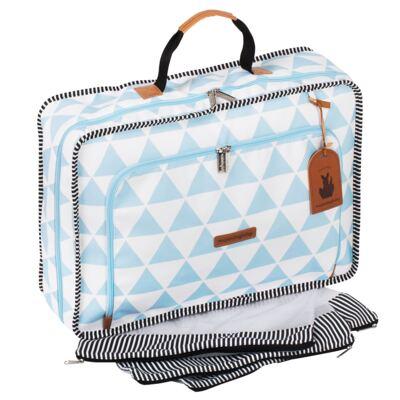 Imagem 3 do produto Mala maternidade Vintage + Bolsa 4 em 1 Sofia + Frasqueira térmica Vicky + Mochila Noah Manhattan Azul - Masterbag