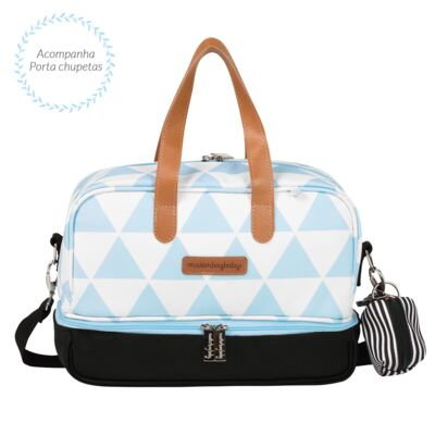 Imagem 7 do produto Mala maternidade Vintage + Bolsa 4 em 1 Sofia + Frasqueira térmica Vicky + Mochila Noah Manhattan Azul - Masterbag