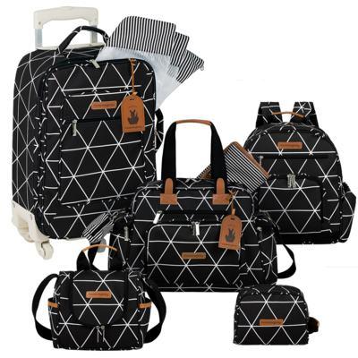 Imagem 1 do produto Mala Maternidade com Rodízio  + Bolsa Everyday  + Frasqueira térmica Emy + Mochila Noah + Necessaire Manhattan Preta - Masterbag