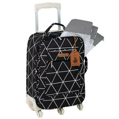 Imagem 2 do produto Mala Maternidade com Rodízio  + Bolsa Everyday  + Frasqueira térmica Emy + Mochila Noah + Necessaire Manhattan Preta - Masterbag