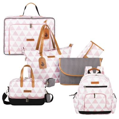 Imagem 1 do produto Mala maternidade Vintage + Bolsa 4 em 1 Sofia + Frasqueira térmica Vicky + Mochila Noah Manhattan Rosa - Masterbag