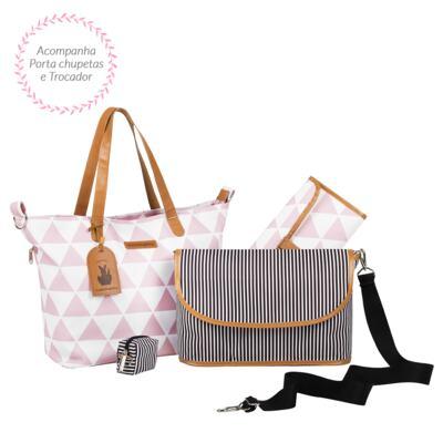 Imagem 3 do produto Mala maternidade Vintage + Bolsa 4 em 1 Sofia + Frasqueira térmica Vicky + Mochila Noah Manhattan Rosa - Masterbag