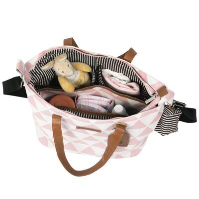 Imagem 4 do produto Mala maternidade Vintage + Bolsa 4 em 1 Sofia + Frasqueira térmica Vicky + Mochila Noah Manhattan Rosa - Masterbag