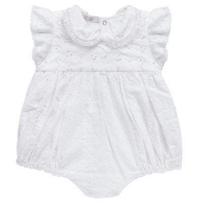 Imagem 1 do produto Macacão curto para bebe em laise Pérolas Deluxe - Roana - PIML0927001 PIMPAO LUXO BRANCO -P