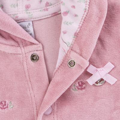 Imagem 3 do produto Casaco c/ capuz e Calça para bebe em plush Florale - Mini & Classic - 19284172 CONJ CASACO RET CALÇA PLUSH E SU FLORAL -3