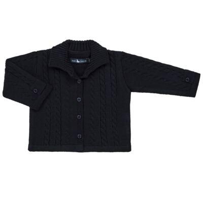 Imagem 1 do produto Casaquinho para bebe em tricot trançado Marinho - Mini Sailor - 75464262 CASAQUINHO C/GOLA TRANÇADO TRICOT MARINHO-0-3
