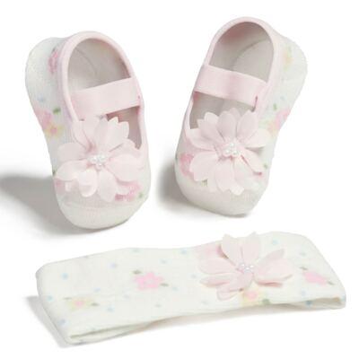 Imagem 1 do produto Kit Faixa de cabelo e Meia sapatilha Floral Off White - Puket