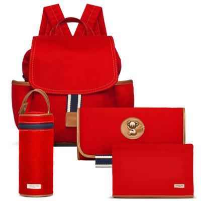 Imagem 1 do produto Mochila maternidade + Trocador Portátil + Porta Mamadeira + Necessaire Adventure em sarja Vermelha - Classic for Baby Bags