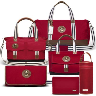 Imagem 1 do produto Bolsa Passeio p/ bebe + Bolsa Melbourne + Térmica Brisbane + Necessaire + Trocador + Porta Mamadeira sarja Adventure Vermelha - Classic for Baby Bags