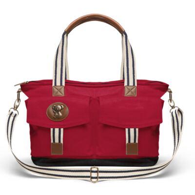 Imagem 2 do produto Bolsa Maternidade p/ bebe + Térmica Brisbane + Necessaire Farmacinha + Trocador + Porta Mamadeira sarja Adventure Vermelha - Classic for Baby Bags