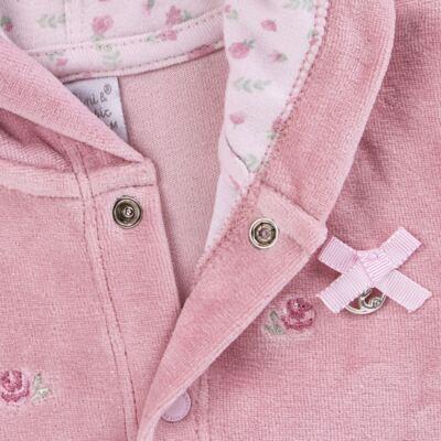 Imagem 3 do produto Casaco c/ capuz e Calça para bebe em plush Florale - Mini & Classic - 19284172 CONJ CASACO RET CALÇA PLUSH E SU FLORAL -G