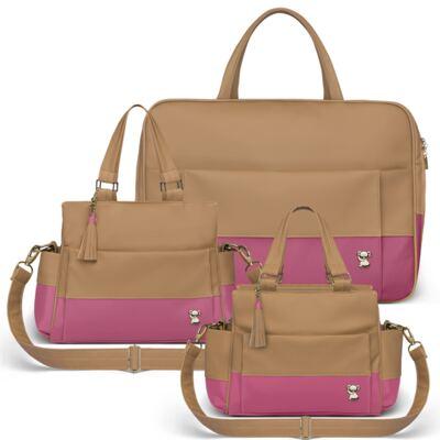 Imagem 1 do produto Mala Maternidade para bebe + Bolsa Genebra + Frasqueira Térmica Zurique Due Colore Pink - Classic for Baby Bags
