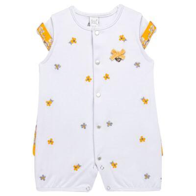 Imagem 1 do produto Macacão curto para bebe em algodão egípcio c/ jato de cerâmica Daisy - Mini & Classic - 3019657 MACACAO M/C C/BABADOS SUEDINE FLORAL AMARELO-P