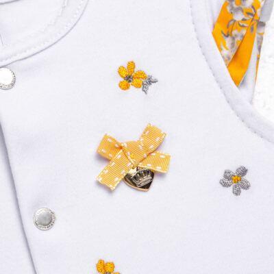 Imagem 2 do produto Macacão curto para bebe em algodão egípcio c/ jato de cerâmica Daisy - Mini & Classic - 3019657 MACACAO M/C C/BABADOS SUEDINE FLORAL AMARELO-P