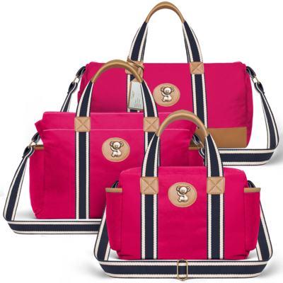 Imagem 1 do produto Bolsa Passeio para bebe + Bolsa Albany + Frasqueira Térmica Gold Coast em sarja Adventure Pink - Classic for Baby Bags
