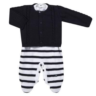 Imagem 1 do produto Macacão Pulôver c/ Casaquinho  para bebe em tricot Navy - Mini Sailor - 17994262 CASACO C/ JARDINEIRA TRICOT MARINHO -NB