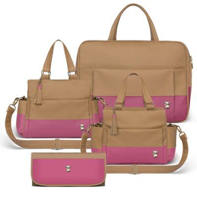 Imagem 1 do produto Mala Maternidade para bebe + Bolsa Genebra + Frasqueira Térmica Zurique + Trocador Portátil Due Colore Pink - Classic for Baby Bags