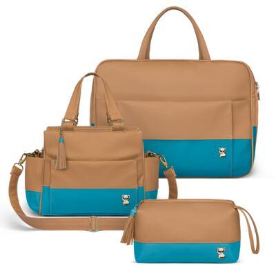 Imagem 1 do produto Mala Maternidade + Bolsa Térmica Zurique + Mini Bolsa Due Colore Turquesa - Classic for Baby Bags
