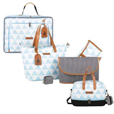 Imagem 1 do produto Mala maternidade Vintage + Bolsa 4 em 1 Sofia + Frasqueira térmica Vicky Manhattan Azul - Masterbag