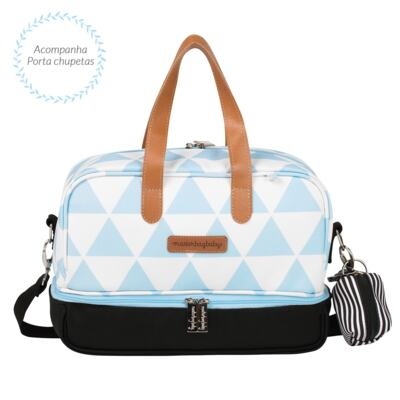 Imagem 6 do produto Mala maternidade Vintage + Bolsa 4 em 1 Sofia + Frasqueira térmica Vicky Manhattan Azul - Masterbag