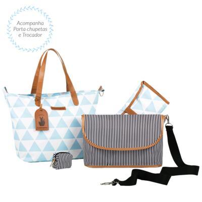 Imagem 4 do produto Mala maternidade Vintage + Bolsa 4 em 1 Sofia + Frasqueira térmica Vicky + Mochila Noah + Necessaire Manhattan Azul - Masterbag