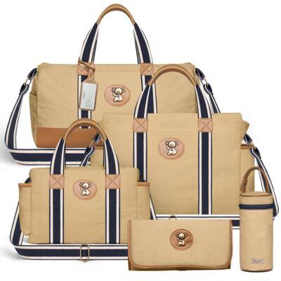 Imagem 1 do produto Bolsa Passeio para bebe + Bolsa Albany + Térmica Gold Coast + Trocador + Porta Mamadeira em sarja Adventure Caramelo - Classic for Baby Bags