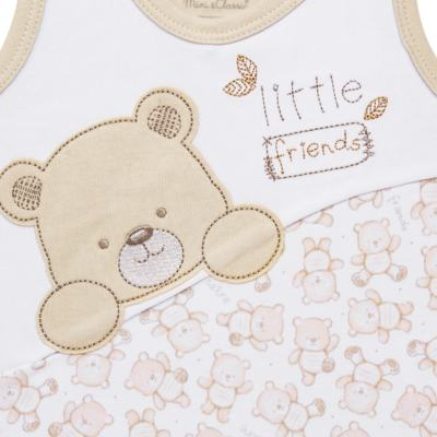 Imagem 2 do produto Macacão regata para bebe em algodão egípcio c/ jato de cerâmica Nature Little Friends - Mini & Classic - MCCC650 MACACAO REGATA C/ RECORTE SUEDINE NATURE-GG