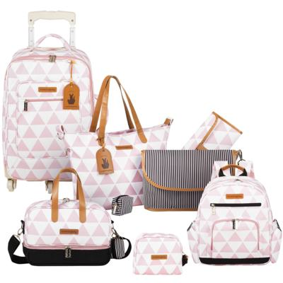 Imagem 1 do produto Mala maternidade com Rodízio + Bolsa Sofia 4 em 1 + Frasqueira térmica Vicky + Mochila Noah + Necessaire para bebe Manhattan Rosa - Masterbag