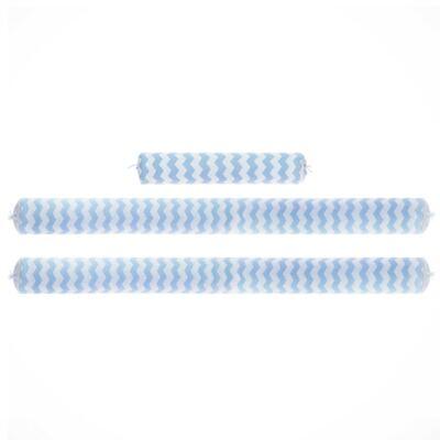 Imagem 1 do produto Kit Berço: Rolinhos Laterais + Rolinho Cabeceira em tricot Chevron Azul - Petit