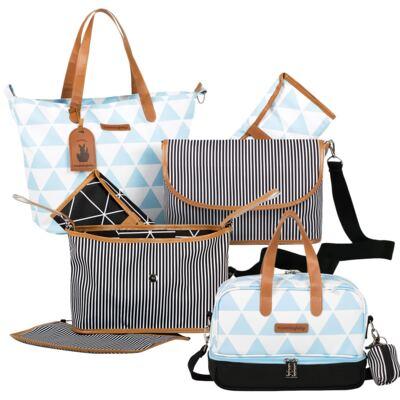 Imagem 1 do produto Bolsa 4 em 1 Sofia + Frasqueira térmica Vicky + Frasqueira Organizadora Manhattan Azul - Masterbag