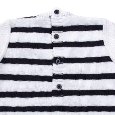 Imagem 4 do produto Macacão Pulôver c/ Casaquinho  para bebe em tricot Navy - Mini Sailor - 17994262 CASACO C/ JARDINEIRA TRICOT MARINHO -9-12