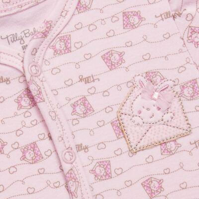 Imagem 2 do produto Macacão longo para bebe em algodão egípcio Coelhinha - Tilly Baby - TB168100 MACACAO ML FEMININO SUEDINE CORRIDO CARTINHAS-M