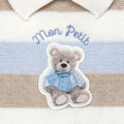 Imagem 2 do produto Macacão c/ golinha para bebe em tricot Mon Petit - Petit - 21884281 MACACAO C/ GOLA TRICOT AZUL BEBE-M