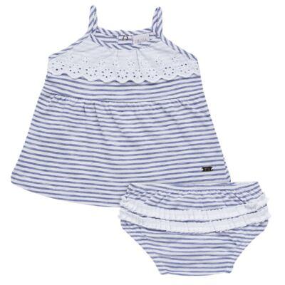 Imagem 1 do produto Vestido com Calcinha para bebe em malha Navy - Tilly Baby - TB168201 CONJ FEMININO VESTIDO C/ CALCINHA LISTRADO-M
