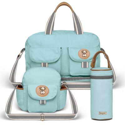 Imagem 1 do produto Bolsa Maternidade para bebe  Ibiza + Frasqueira Térmica Toulon +  Porta Mamadeira em sarja Adventure Azul - Classic for Baby Bags