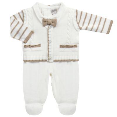 Imagem 1 do produto Macacão longo c/ Colete & Gravata para bebe em tricot Benjamim - Mini & Classic - 3069659 MACACAO FALSO COLETE TRICOT BRANCO-P