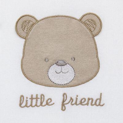 Imagem 2 do produto Macacão longo para bebe em tricot Nature Little Friends - Mini & Classic - 3071650 MACACAO TRICO BORDADO NATURE-P