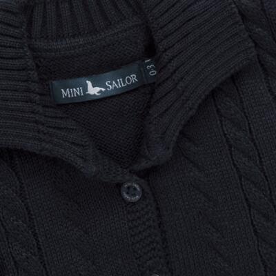 Imagem 2 do produto Casaquinho para bebe em tricot trançado Marinho - Mini Sailor - 75464262 CASAQUINHO C/GOLA TRANÇADO TRICOT MARINHO-9-12
