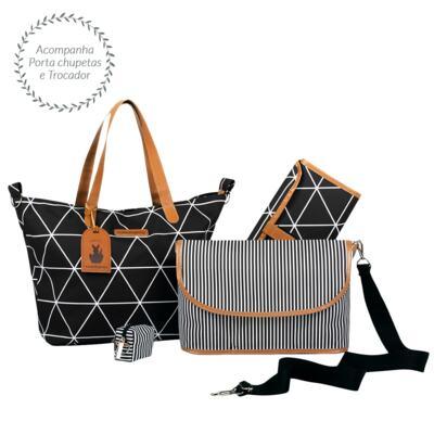 Imagem 3 do produto Mala maternidade Vintage + Bolsa 4 em 1 Sofia + Frasqueira térmica Vicky + Mochila Noah + Necessaire Manhattan Preta - Masterbag