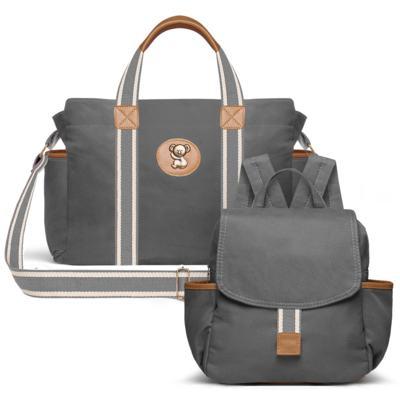 Imagem 1 do produto Bolsa maternidade para bebe Albany + Mochila Adventure em sarja Chumbo - Classic for Baby Bags