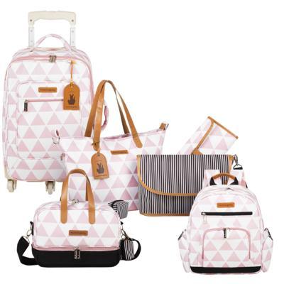 Imagem 1 do produto Mala maternidade com Rodízio + Bolsa 4 em 1 Sofia + Frasqueira térmica Vicky + Mochila Noah Manhattan Rosa - Masterbag