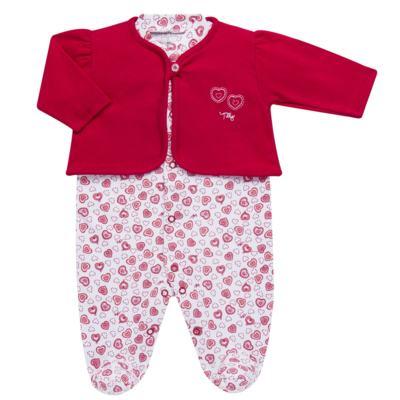 Imagem 1 do produto Macacão longo com Casaco em algodão egípcio Little Hearts - Tilly Baby - TB168162 MACACAO C/ CASACO FEM SUEDINE CORAÇÕES-M