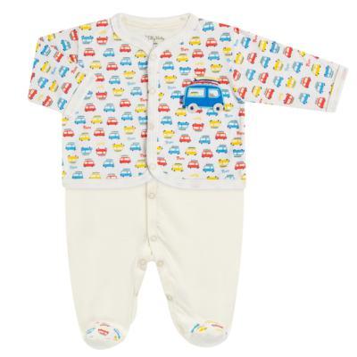 Imagem 1 do produto Macacão com Casaco para bebe em malha Carrinhos - Tilly Baby - TB168627 MACACAO ML MASC C/ CASACO CARRINHOS-P