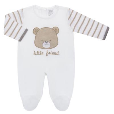 Imagem 1 do produto Macacão longo para bebe em tricot Nature Little Friends - Mini & Classic - 3071650 MACACAO TRICO BORDADO NATURE-RN