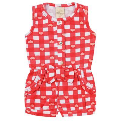 Imagem 1 do produto Macaquinho regata para bebe em cotton Cherry - Time Kids - TK5057.VR MACAQUINHO XADREZ VERMELHO-M